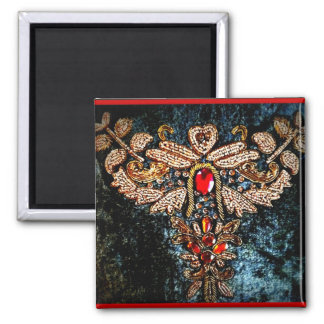 PERSIAN JEWELED EMBROIDERED PILLOW DESIGN 2 INCH SQUARE MAGNET