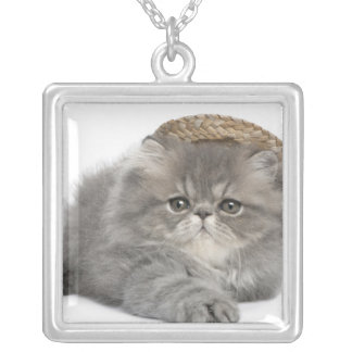 Persian Kitten (2 months old) wearing a straw Square Pendant Necklace