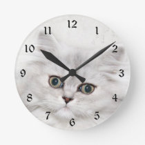 Persian kitten face round clock