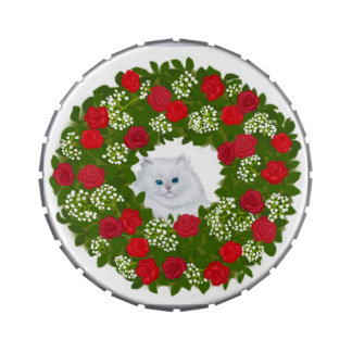 Persian Kitten in Holiday Wreath Candy Tin