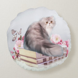 Persian kitty cat with books round pillow