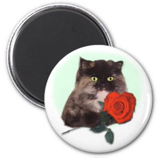 Persian Kitty with Rose 2 Inch Round Magnet