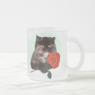 Persian Kitty with Rose Frosted Coffee Mug