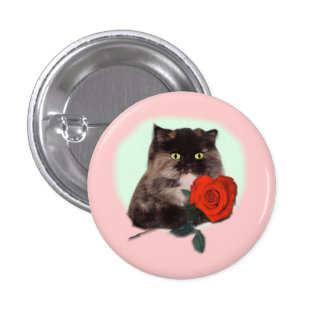 Persian Kitty with Rose Gifts and Apparel Button