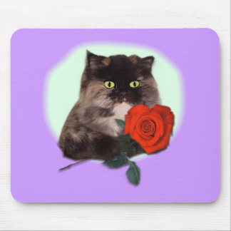 Persian Kitty with Rose Gifts and Apparel Mouse Pad