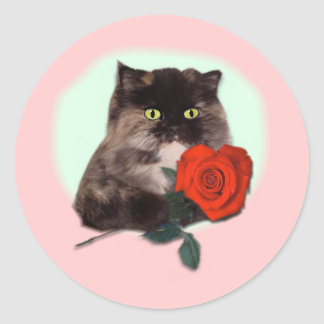 Persian Kitty with Rose Gifts and Apparel Round Stickers