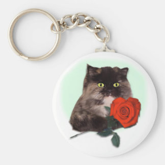 Persian Kitty with Rose Basic Round Button Keychain