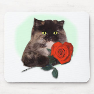 Persian Kitty with Rose Mouse Pad