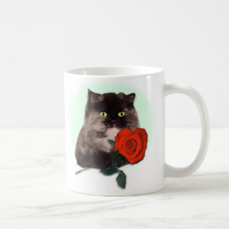 Persian Kitty with Rose Mugs