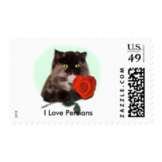 Persian Kitty with Rose Stamp
