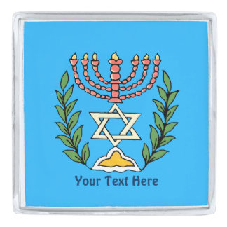 Persian Magen David Menorah Silver Finish Lapel Pin