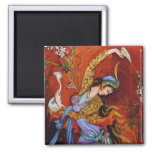 Persian Miniature Dancing Nymph 2 Inch Square Magnet