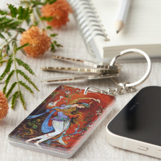 Persian Miniature Dancing Nymph Double-Sided Rectangular Acrylic Keychain