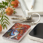 """Persian Miniature Dancing Nymph Keychain<br><div class=""""desc"""">Dancing Persian girl,  miniature painting   Beautiful painting of a young girl nymph wearing traditional Iranian folk costume with flowery flowing robes,  dancing and pouring wine from jug against a fantasy background mostly bright vibrant red</div>"""