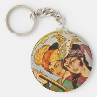 Persian Miniature Nymph with setar in detail Basic Round Button Keychain