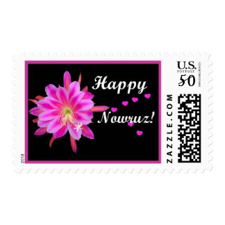 Persian New Year - Happy Nowruz Pink Flower Hearts Postage