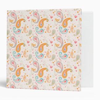 Persian Paisley, Hearts, Dots - Orange Blue Pink Vinyl Binder