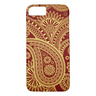 Persian Paisley, Oriental Motif - Red Yellow iPhone 7 Case