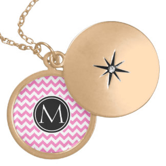 Persian Pink Pattern with Monogram Locket Necklace