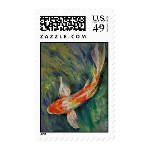 Persian Red Koi Postage Stamp