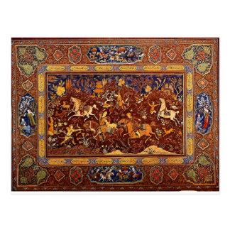 PERSIAN ROYAL HUNT DESIGN. POSTCARD