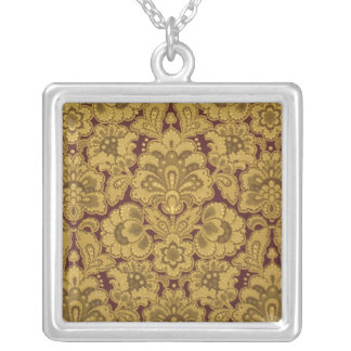 Persian styled flowers, 1880-1890 square pendant necklace