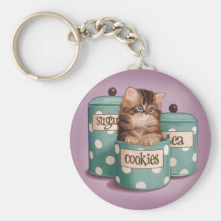 Persian Tabby Kitten in Cookie Jar Basic Round Button Keychain