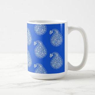 Persian tile paisley - white on blue coffee mug