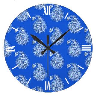 Persian tile paisley - white on blue large clock
