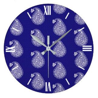Persian tile paisley - white on indigo blue large clock