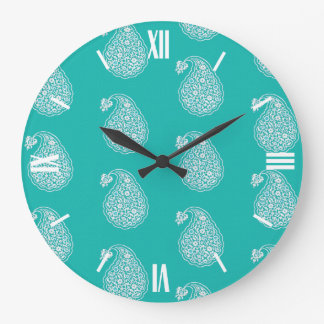 Persian tile paisley - white on turquoise large clock