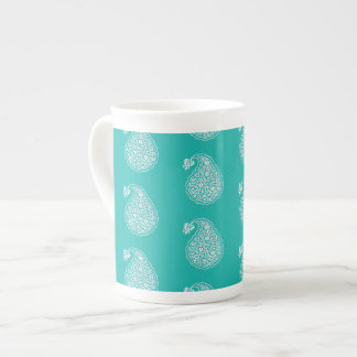 Persian tile paisley - white on turquoise tea cup