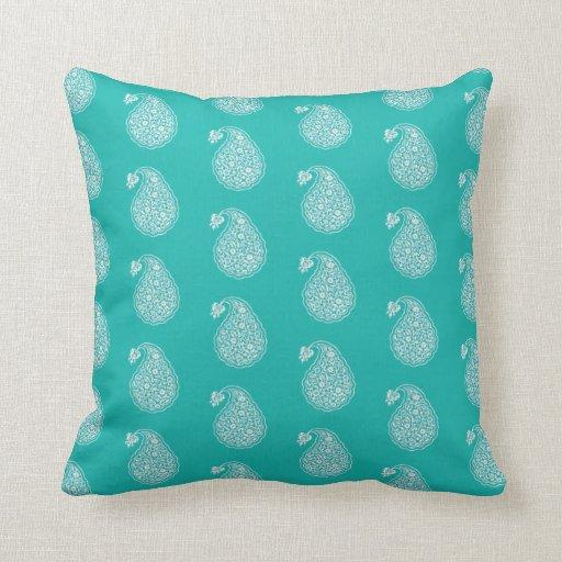 Persian Design Throw Pillows : Persian tile paisley - white on turquoise throw pillow Zazzle
