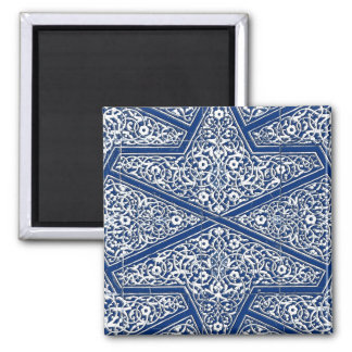 Persian tile pattern - cobalt blue and white 2 inch square magnet