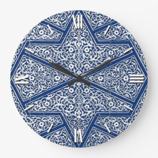Persian tile pattern - cobalt blue and white large clock