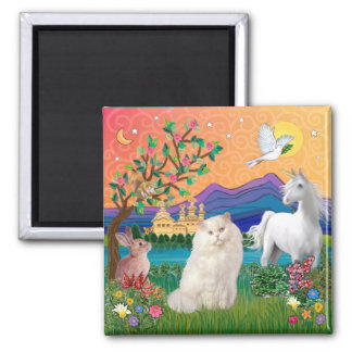 Persian White Cat - Fantasy Land Magnet
