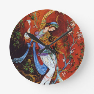 Persian Woman Dancing with Bird & Wine Round Clock
