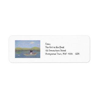 Persiga a la deriva en el barco de pesca - el sueñ etiquetas de remite