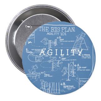 Persiga el dibujo animado de la agilidad - plan gr pin redondo 7 cm