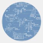 Persiga el dibujo animado de la agilidad - plan pegatina redonda