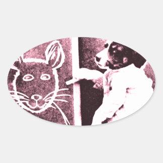 persiga el dibujo qué mira para ser un ratón pegatina ovalada