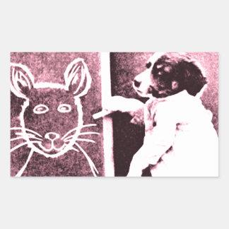 persiga el dibujo qué mira para ser un ratón pegatina rectangular