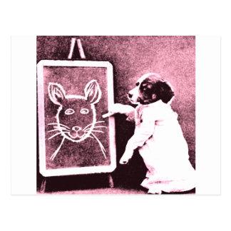 persiga el dibujo qué mira para ser un ratón postales