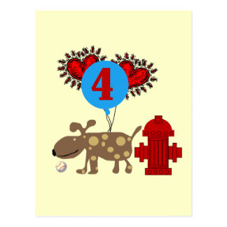 Persiga las 4tas camisetas y regalos del cumpleaño tarjeta postal