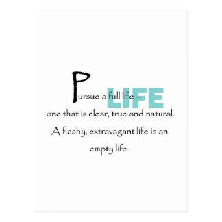 Persiga una vida completa tarjeta postal