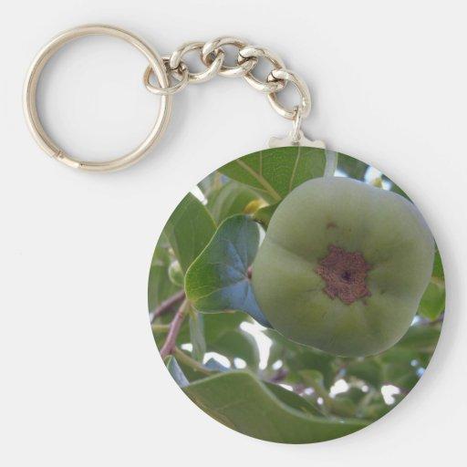 Persimmon Basic Round Button Keychain