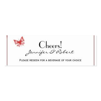 Persimmon Butterfly Heart Wedding Drink Tickets Business Card Template