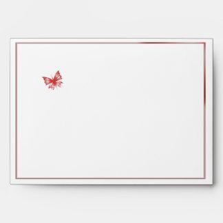 Persimmon Butterfly Heart Wedding Envelope