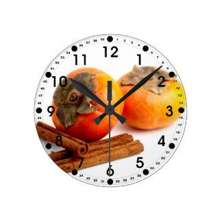 Persimmon Cinnamon Round Wall Clock
