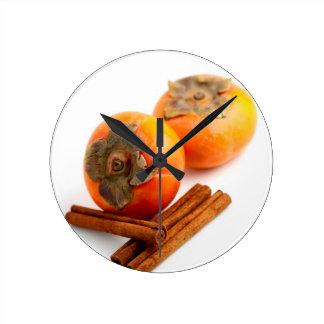 Persimmon Cinnamon Round Clock